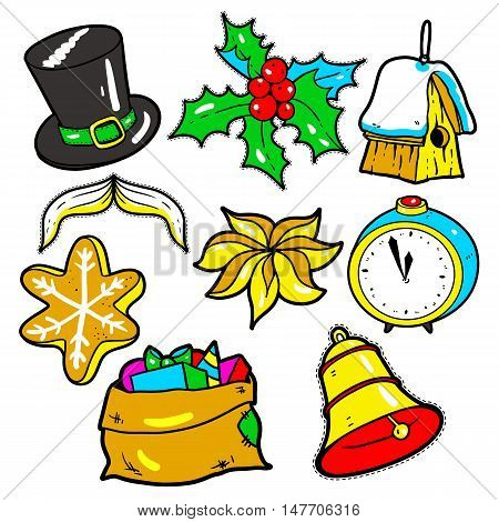 Set of New Year stickers, pins, patches in 80s-90s comic style. Fashion badges with hat, alarm clock, bell, gifts, cookies, cinnamon, toys. Cartoon Christmas vector elements.