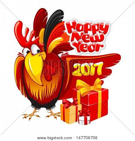 Christmas and New Year greeting card with cheerful rooster with big gift isolated on white background. Rooster - symbol of year 2017. Vector illustration.