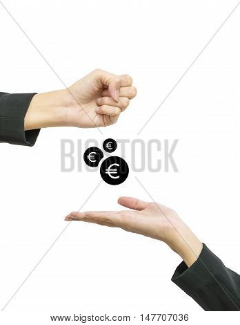 Closeup working woman hand give coin in euro currency to another people hand hold out to receive isolated on white background in business concept with clipping path