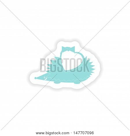 paper sticker on white background  hedgehog heart