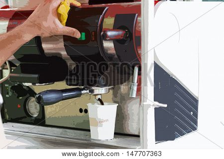 Barista prepares coffee in the coffee machine. Stylized tinted image.