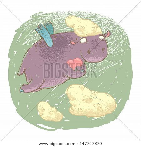 Flying fairy hippo with a heart in its paws. Isolated on white.