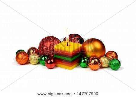 Bright little festive composition to create a Christmas mood.Composition isolated on white background.