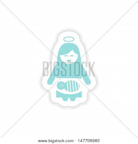 paper sticker on white background  Virgin Mary and newborn Jesus