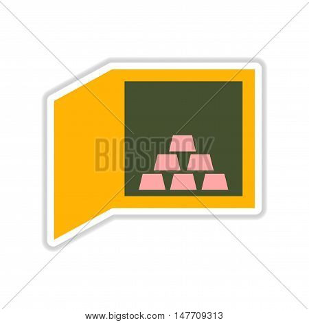 paper sticker on white  background gold bullion in safe