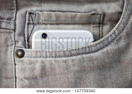Modern Smartphone In Jeans Pocket