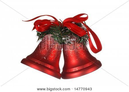 Christmas bells isolated on white