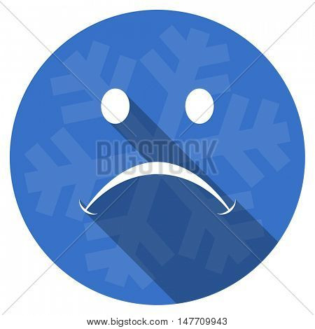cry blue flat design christmas winter web icon with snowflake