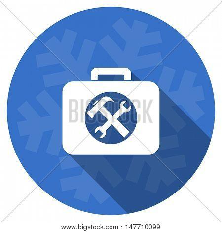 toolkit blue flat design christmas winter web icon with snowflake