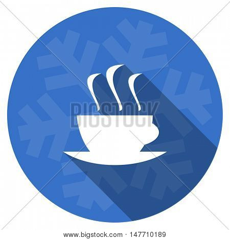 espresso blue flat design christmas winter web icon with snowflake