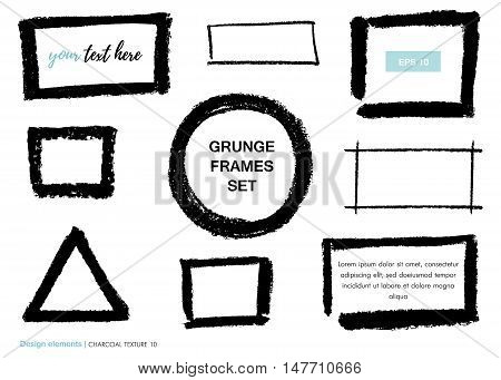 Set of black hand drawn charcoal texture. Vector charcoal design element. Charcoal scribble background.