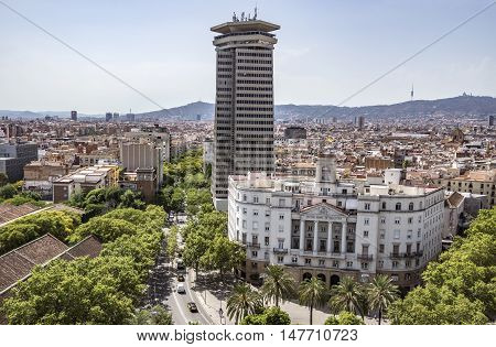 BARCELONA SPAIN - JULY 4 2016: Aerial view to Building of The Municipal Institute of Urban Landscape and Quality of Life. Located in Port Vell district