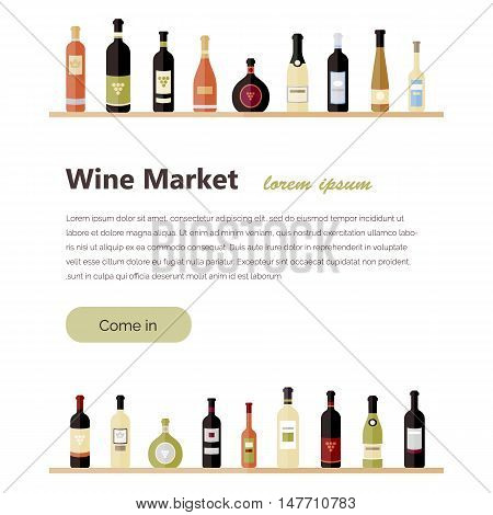 Set of wine bottles in flat. Isolated flat wine bottles. Different kinds of wine bottles. Design elements for banners wine markets alcohol advertising bars and vineyards. Site template
