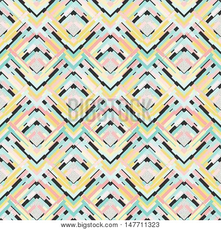 Seamless art. Retro wallpaper. Memphis backdrop. Avant-garde design. Vintage illustration. Bauhaus graphic. Postmodernism pattern. Hipster ornament. Futuristic print. Geometry background. Vector.