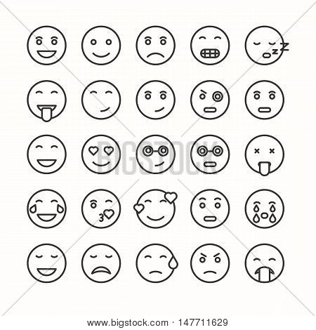 Flat and line emoticon face icons set. Vector smiley.