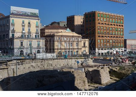 Archaeological excavations in the Naples in Italy.