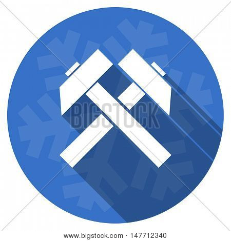 mining blue flat design christmas winter web icon with snowflake