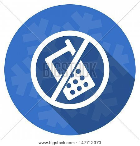 no phone blue flat design christmas winter web icon with snowflake