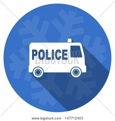 police blue flat design christmas winter web icon with snowflake