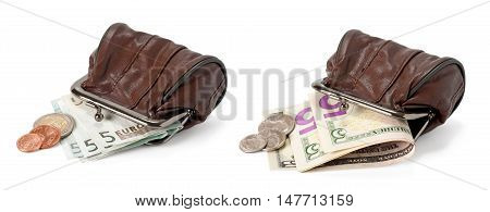 two purses with dollars and euros isolated on white background