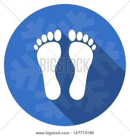 foot blue flat design christmas winter web icon with snowflake