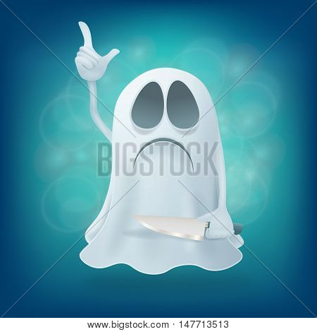 funny sad cartoon ghost character with knife. Halloween illustration