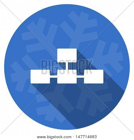 database blue flat design christmas winter web icon with snowflake