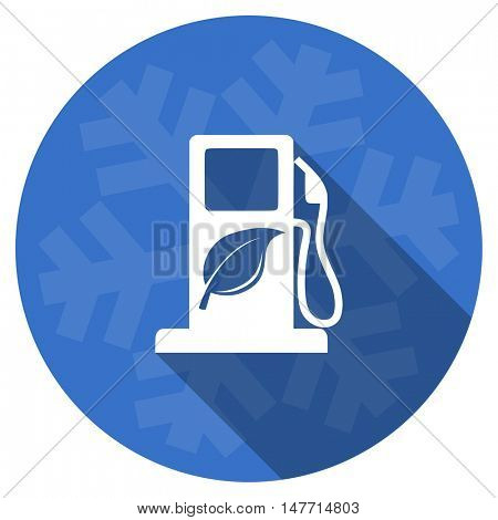 biofuel blue flat design christmas winter web icon with snowflake