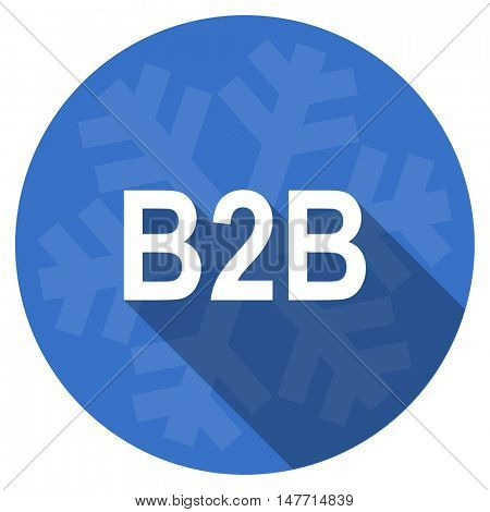 b2b blue flat design christmas winter web icon with snowflake