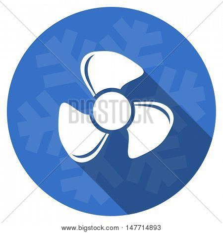 fan blue flat design christmas winter web icon with snowflake