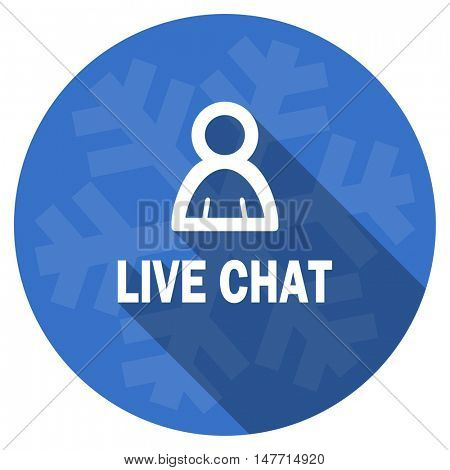 live chat blue flat design christmas winter web icon with snowflake
