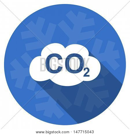 carbon dioxide blue flat design christmas winter web icon with snowflake