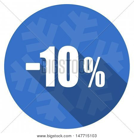 10 percent sale retail blue flat design christmas winter web icon with snowflake