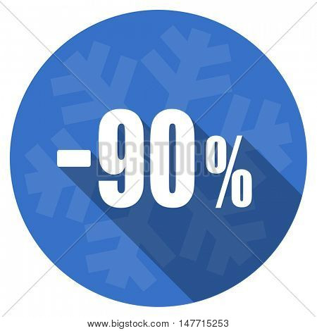 90 percent sale retail blue flat design christmas winter web icon with snowflake