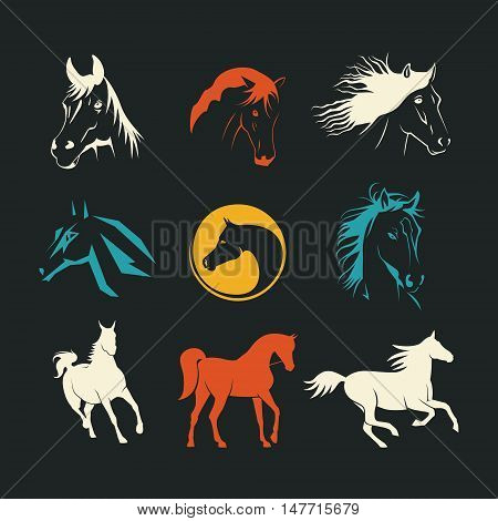 Set of logos with stylized horse. vector illustration