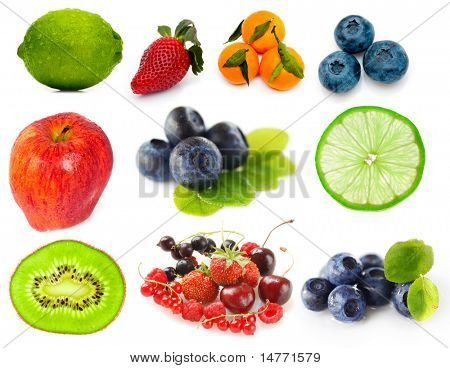 Fruits and berries isolated on white background