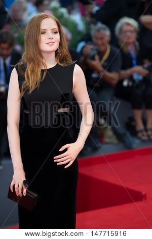 Ellie Bamber  at the premiere of Nocturnal Animals at the 2016 Venice Film Festival. September 2, 2016  Venice, Italy