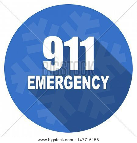 number emergency 911 blue flat design christmas winter web icon with snowflake