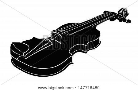 Black - White Musical instrument violin on a white background. Vector illustration. Isolated object.