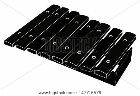 Xylophone. Black - white vector illustration on white background. Isolated object