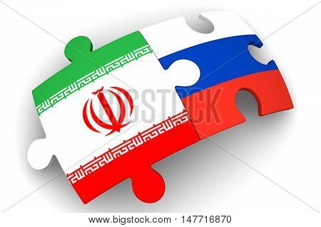 Cooperation of Russia and Iran. Puzzles with flags of the Russian Federation and Iran on a white surface. The concept of coincidence of interests in geopolitics. Isolated. 3D Illustration