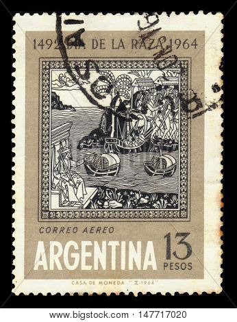 Argentina - CIRCA 1964: A stamp printed in Argentina shows old engraving depicting the arrival of Columbus to America, Day of the race, ( Columbus Day), circa 1964