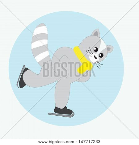 Cat skater. Funny skater on skates. Abstract isolated illustration on white. Hand drawn vector illustration. Cartoon Doodle.
