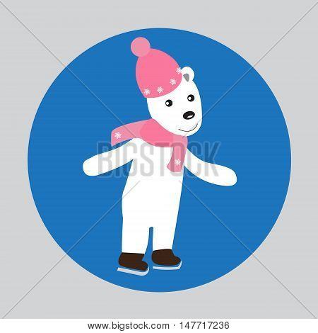 Polar bear skater on skates. Funny skater on skates. Abstract isolated illustration on white. Hand drawn vector illustration. Cartoon Doodle.