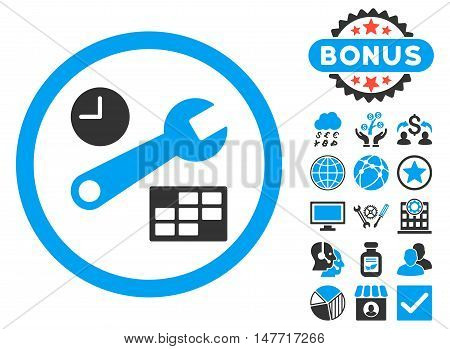 Date and Time Setup icon with bonus images. Vector illustration style is flat iconic bicolor symbols, blue and gray colors, white background.