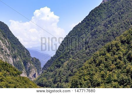 Mountain landscape: steep mountain slopes covered with forests form a deep gorge in the distance you can see mountain ridges with clouds over the tops.