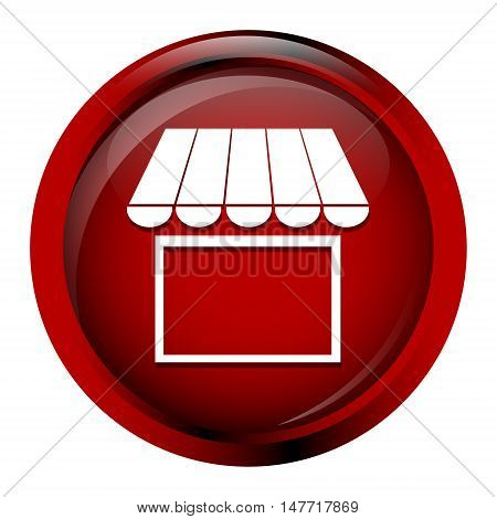 Shop building icon Store building icon on red button