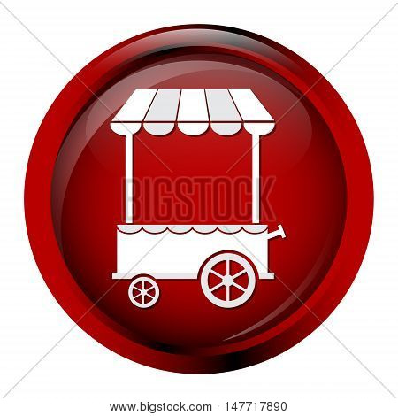 Market cart icon on red button vector illustration