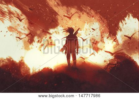 man with gun standing against fire background, illustration painting