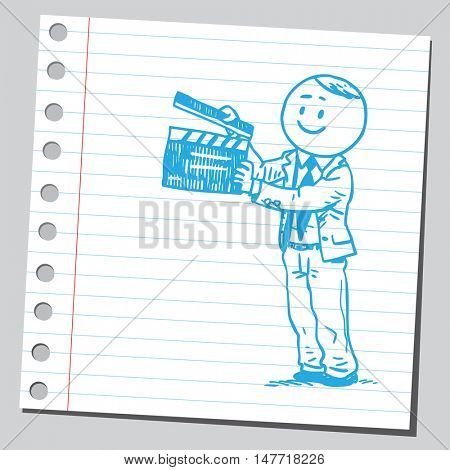 Businessman with clapboard